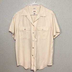 Talbots Classic Cream Button Down Silk Shirt 8